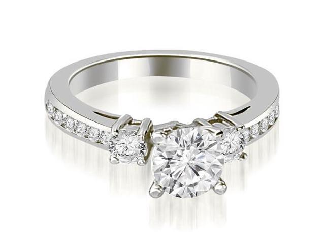 1.05 cttw. Round Cut Diamond Engagement Ring in 18K White Gold