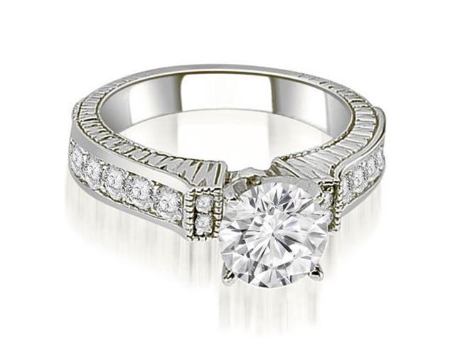 0.90 cttw. Antique Round Cut Diamond Engagement Ring  in 18K White Gold