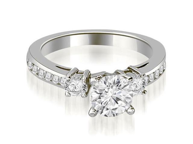0.95 cttw. Round Cut Diamond Engagement Ring in 14K White Gold