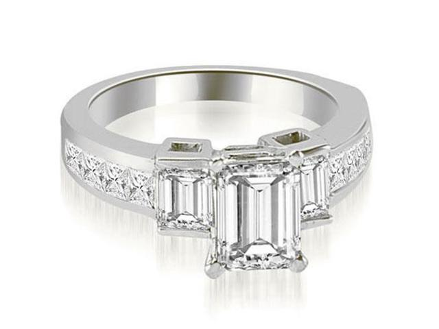 2.15 cttw. Channel Set Diamond Princess and Emerald Cut Engagement Ring in 18K White Gold