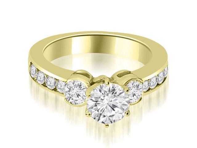 1.65 cttw. Bezel Set Round Cut Diamond Engagement Ring in 18K Yellow Gold