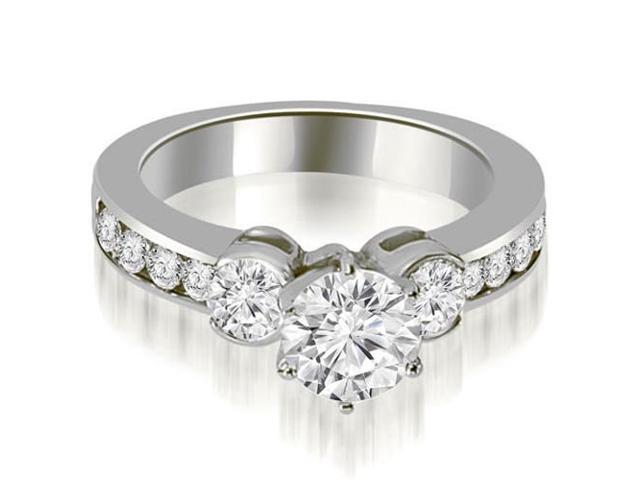 1.65 cttw. Bezel Set Round Cut Diamond Engagement Ring in 14K White Gold