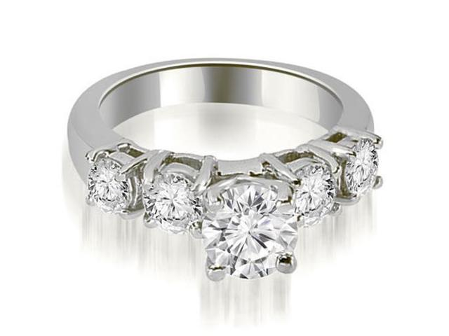1.45 cttw. Prong Set Round Cut Diamond Engagement Ring in 14K White Gold