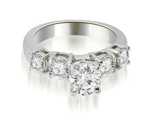 1.20 cttw. Prong Set Round Cut Diamond Engagement Ring in 18K White Gold