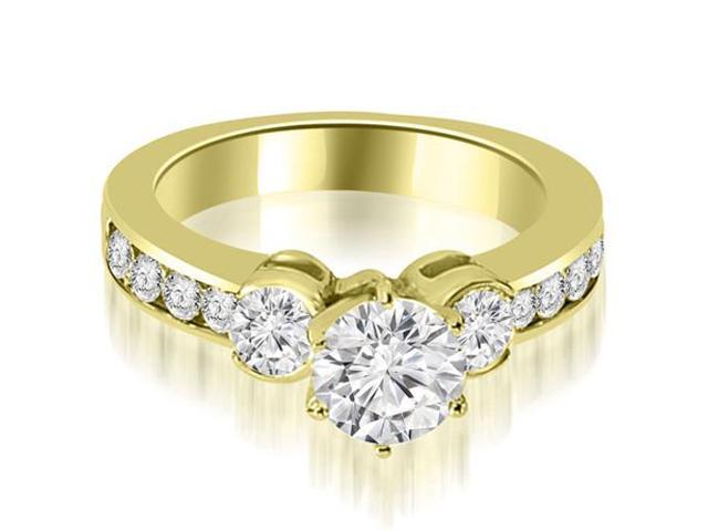 1.25 cttw. Bezel Set Round Cut Diamond Engagement Ring in 14K Yellow Gold