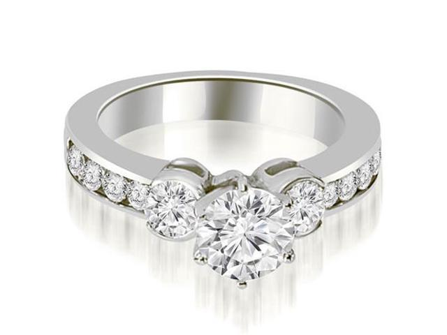 1.40 cttw. Bezel Set Round Cut Diamond Engagement Ring in Platinum
