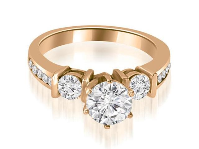 1.05 cttw. Bar Set Round Cut Diamond Engagement Ring in 14K Rose Gold
