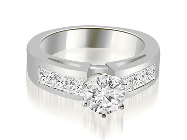 1.45 cttw. Channel Set Princess Cut Diamond Engagement Ring in 18K White Gold