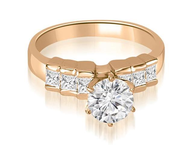 1.10 cttw. Princess Cut Diamond Engagement Ring in 14K Rose Gold