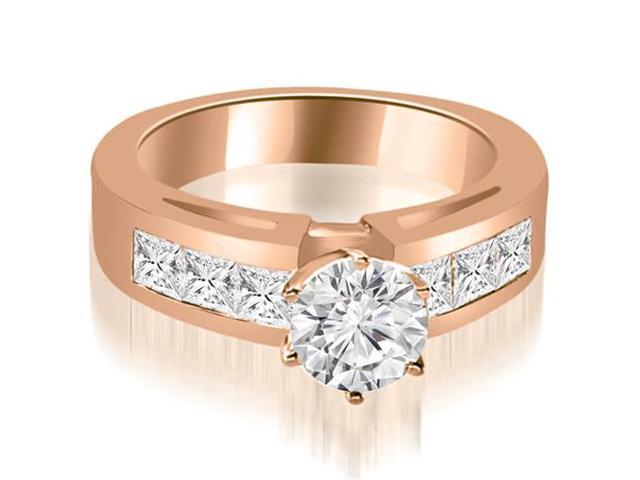 1.45 cttw. Channel Set Princess Cut Diamond Engagement Ring in 18K Rose Gold