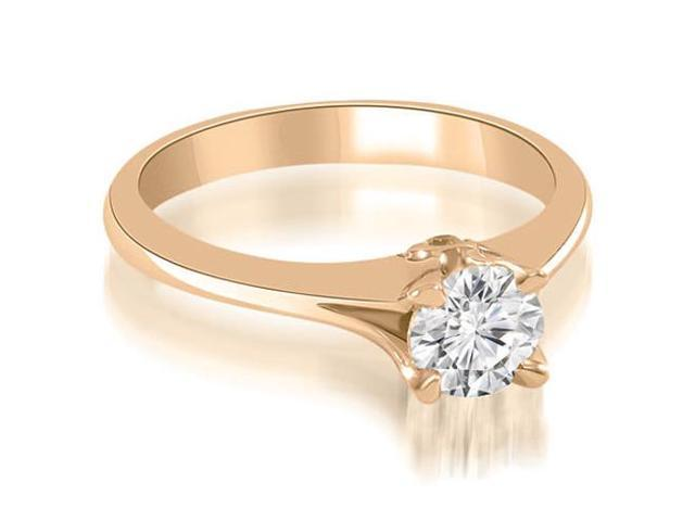 0.37 cttw. Split Shank Round Solitaire Diamond Engagement Ring in 14K Rose Gold