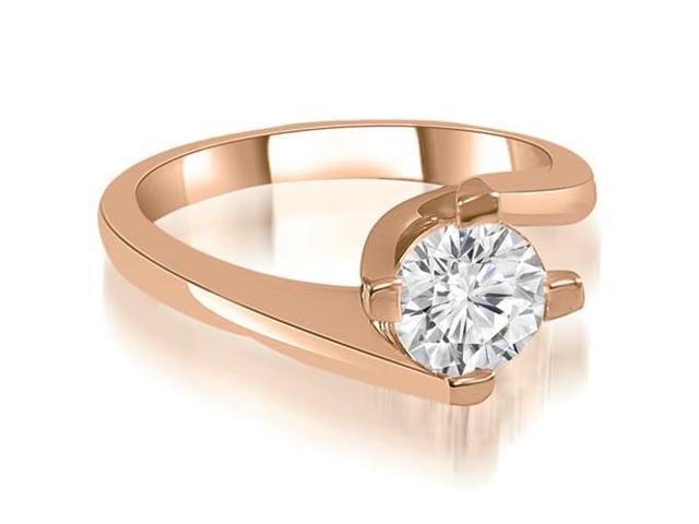 1.00 cttw. Solitaire Round Cut Diamond Engagement Ring in 18K Rose Gold