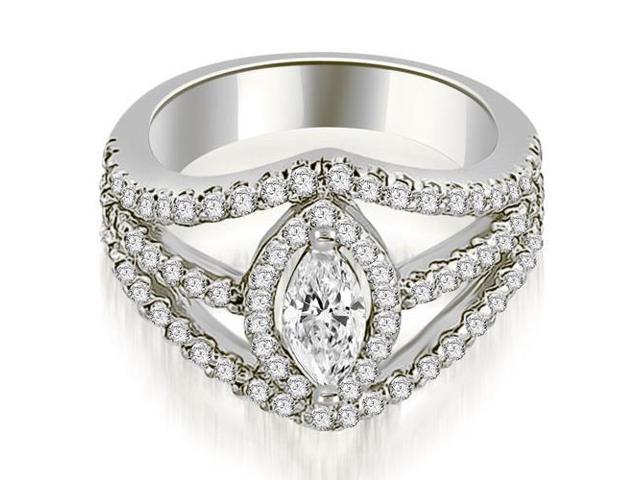 1.20 cttw. Halo Marquise Cut Diamond Engagement Diamond Ring in Platinum