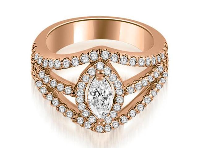 1.70 cttw. Halo Marquise Cut Diamond Engagement Diamond Ring in 18K Rose Gold