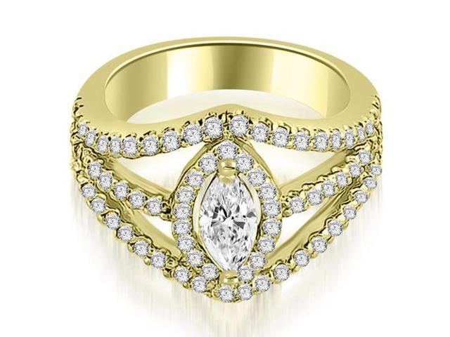 1.20 cttw. Halo Marquise Cut Diamond Engagement Diamond Ring in 18K Yellow Gold