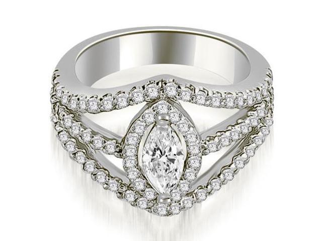 1.45 cttw. Halo Marquise Cut Diamond Engagement Diamond Ring in 18K White Gold