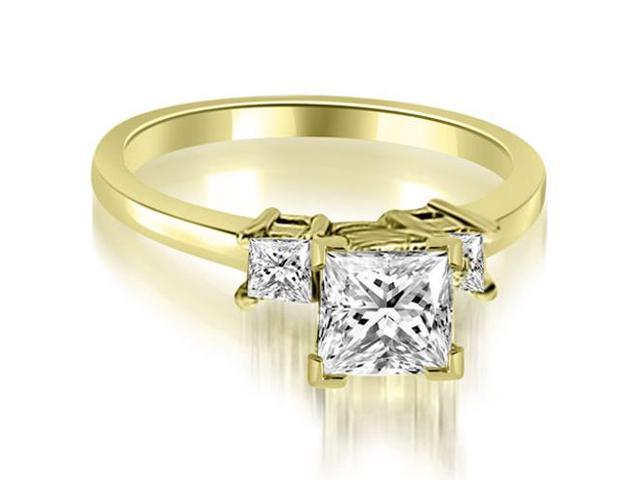 0.80 cttw. Princess Cut Diamond Engagement Ring in 18K Yellow Gold