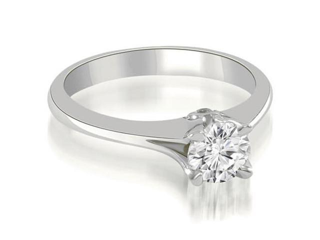 0.77 cttw. Split Shank Round Solitaire Diamond Engagement Ring in 14K White Gold