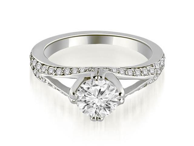 0.80 cttw. Prong Set Round Cut Diamond Engagement Ring in 18K White Gold