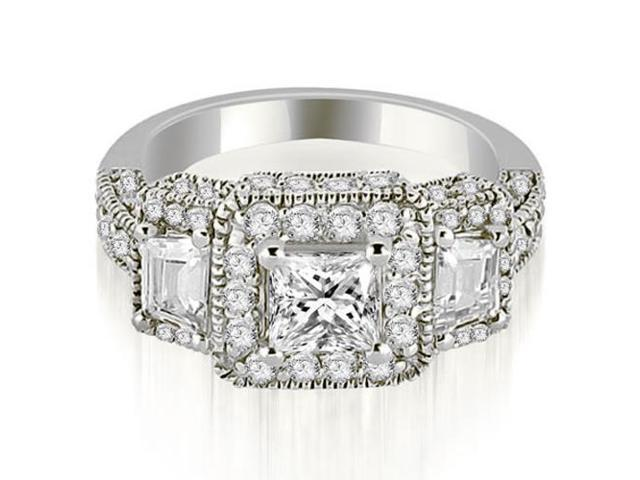 1.75 cttw. Milgrain Three-Stone Princess and Trapezoid Diamond Engagement Ring in 18K White Gold