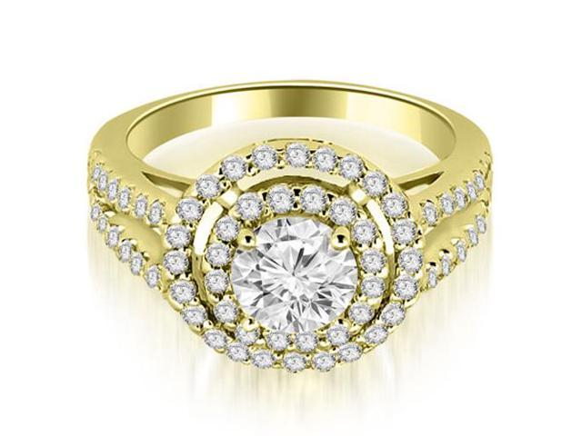 1.40 cttw. Double Halo Round Cut Diamond Engagement Ring in 14K Yellow Gold