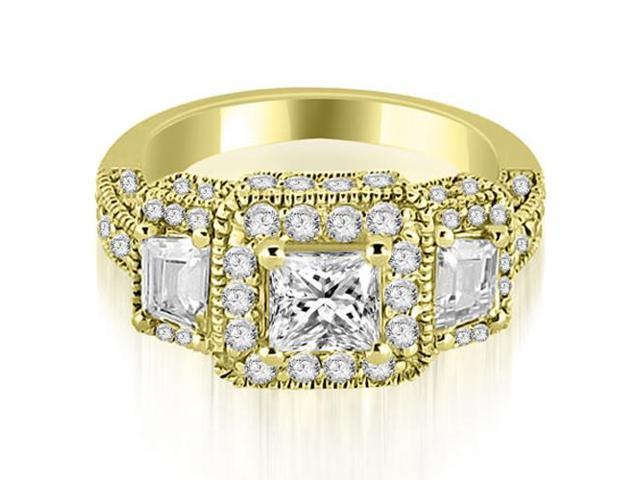 2.25 cttw. Milgrain Three-Stone Princess and Trapezoid Diamond Engagement Ring in 14K Yellow Gold