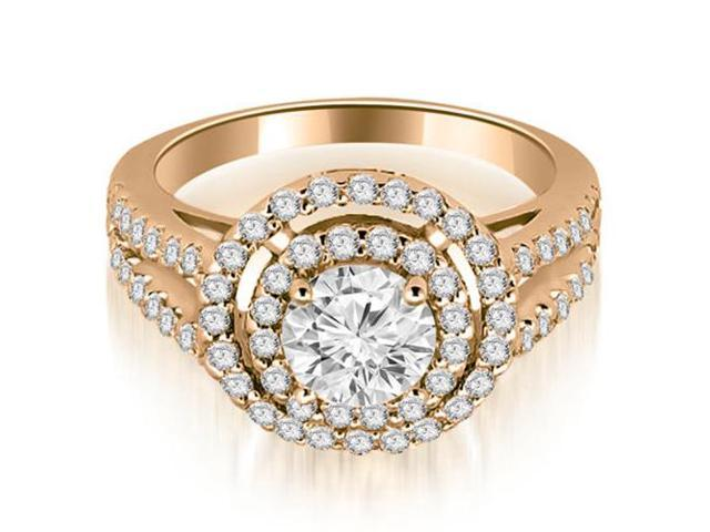 1.40 cttw. Double Halo Round Cut Diamond Engagement Ring in 14K Rose Gold