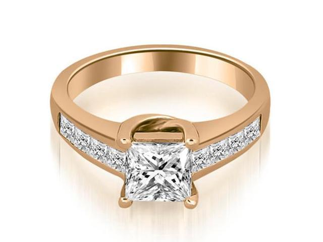1.00 cttw. Channel Princess Cut Diamond Engagement Ring in 14K Rose Gold