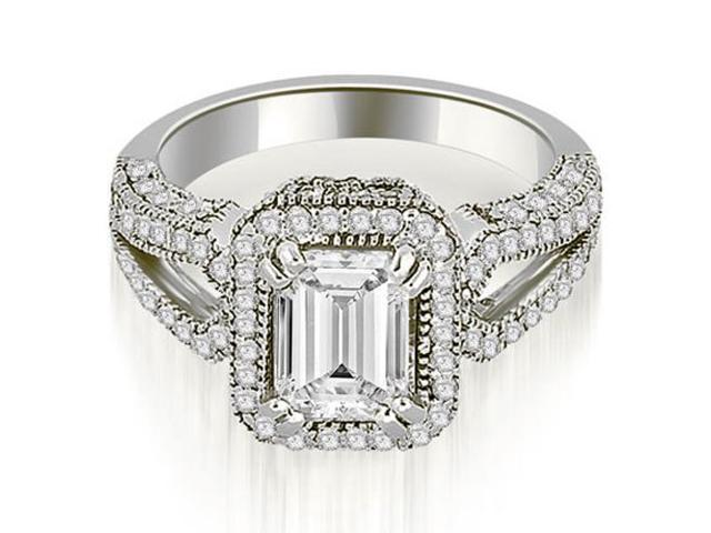 1.35 cttw. Milgrain Halo Emerald Cut Diamond Engagement Ring in 18K White Gold