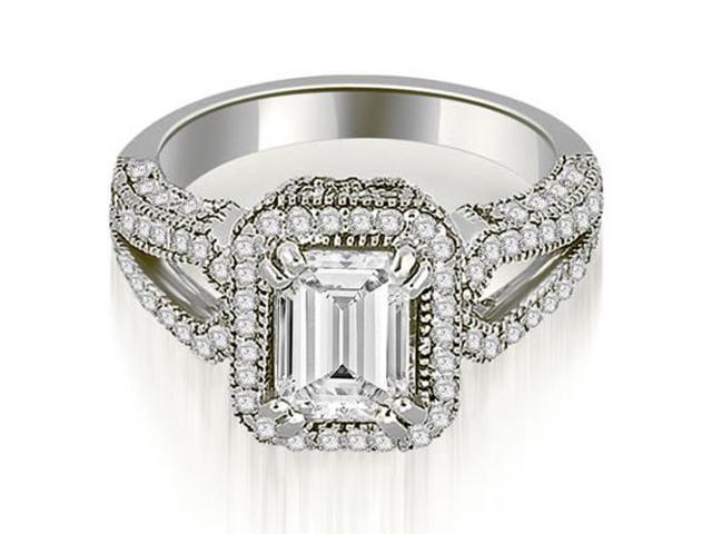 1.35 cttw. Milgrain Halo Emerald Cut Diamond Engagement Ring in 14K White Gold