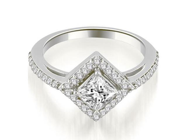 0.90 cttw. Halo Princess Cut Diamond Engagement Ring in Platinum