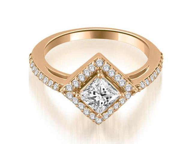 1.15 cttw. Halo Princess Cut Diamond Engagement Ring in 14K Rose Gold