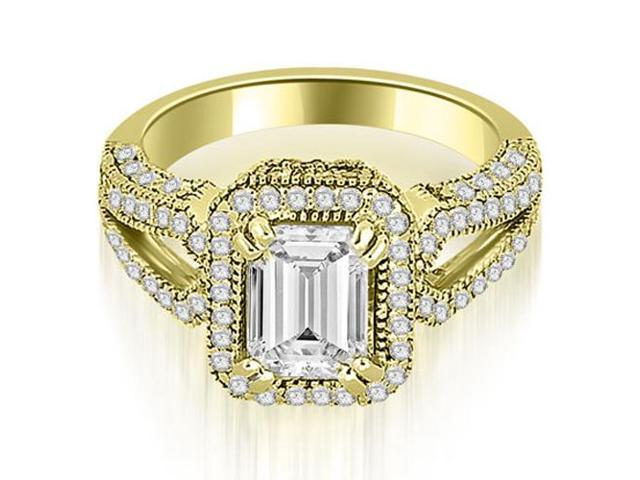 1.35 cttw. Milgrain Halo Emerald Cut Diamond Engagement Ring in 14K Yellow Gold