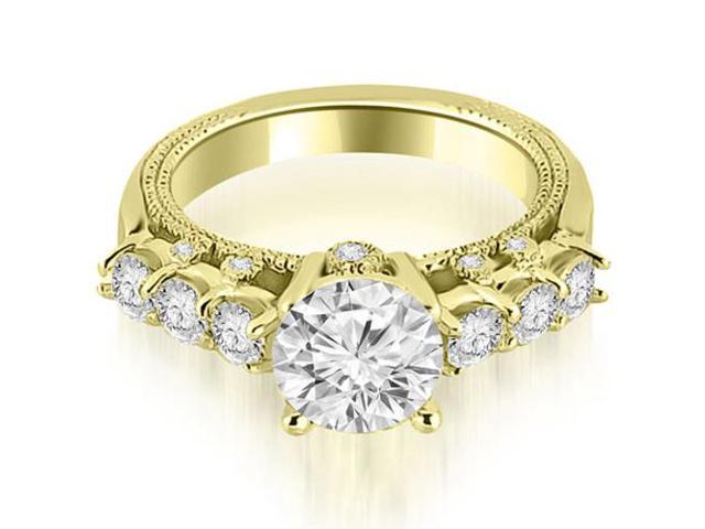 1.45 cttw. Milgrain Round Cut Diamond Engagement Ring in 18K Yellow Gold