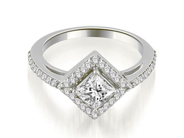1.15 cttw. Halo Princess Cut Diamond Engagement Ring in 18K White Gold