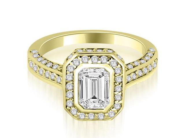 1.75 cttw. Pave Emerald Cut Halo Engagement Diamond Ring in 18K Yellow Gold