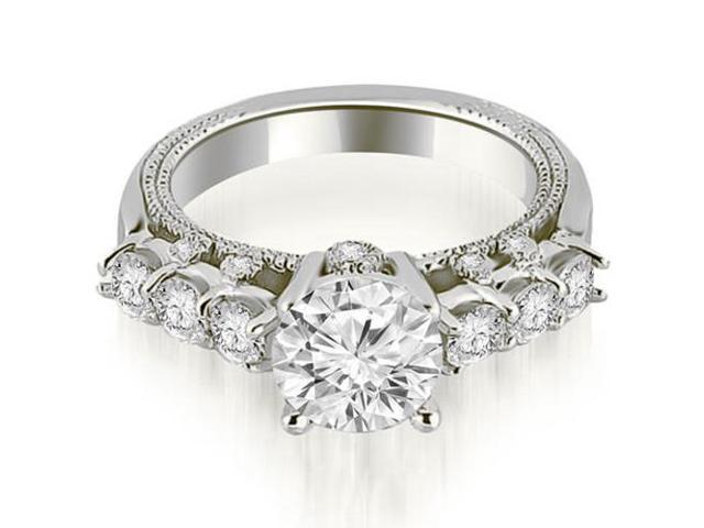 1.20 cttw. Milgrain Round Cut Diamond Engagement Ring in 18K White Gold