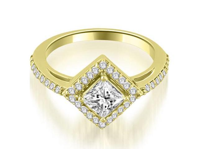 0.90 cttw. Halo Princess Cut Diamond Engagement Ring in 14K Yellow Gold