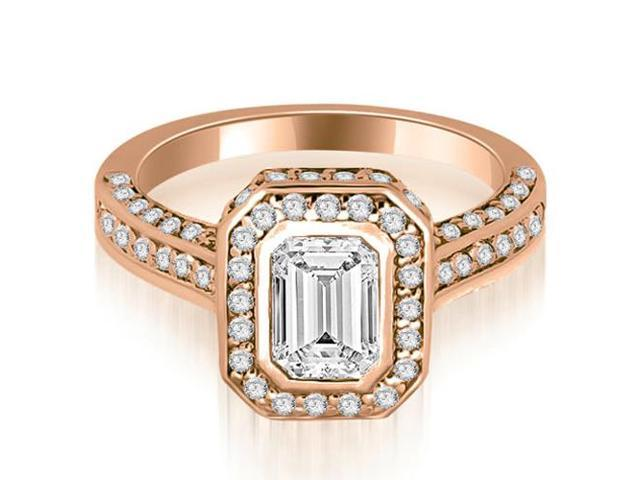 2.00 cttw. Pave Emerald Cut Halo Engagement Diamond Ring in 18K Rose Gold