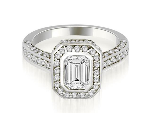 1.50 cttw. Pave Emerald Cut Halo Engagement Diamond Ring in Platinum
