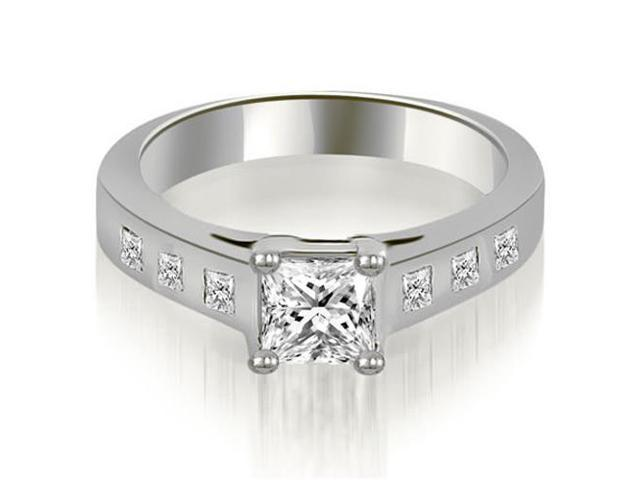 0.75 cttw. Princess Cut Bezel Engagement Diamond Ring in 14K White Gold