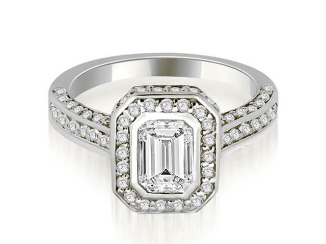 2.00 cttw. Pave Emerald Cut Halo Engagement Diamond Ring in 18K White Gold