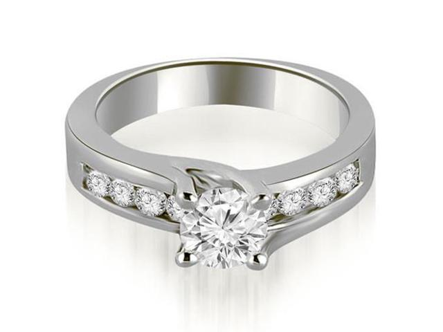 1.05 cttw. Round Cut Channel Engagement Diamond Ring in 14K White Gold