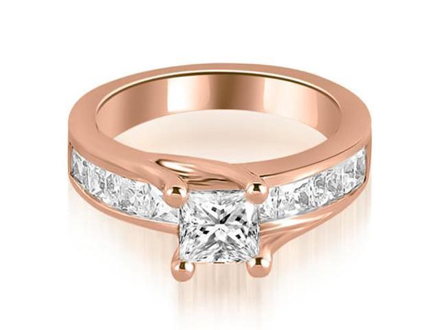 1.30 cttw. Princess Cut Channel Engagement Diamond Ring in 18K Rose Gold