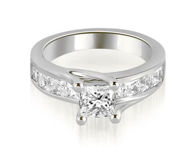 1.55 cttw. Princess Cut Channel Engagement Diamond Ring in 18K White Gold