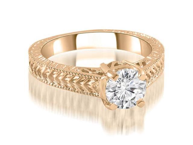 0.75 cttw. Antique Style Solitaire Diamond Engagement Ring in 14K Rose Gold