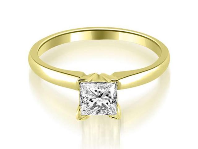 0.45 cttw. Classic Princess Cut Solitaire Diamond Ring in 14K Yellow Gold