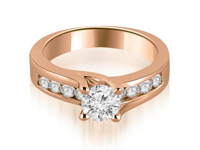 1.30 cttw. Round Cut Channel Engagement Diamond Ring in 18K Rose Gold