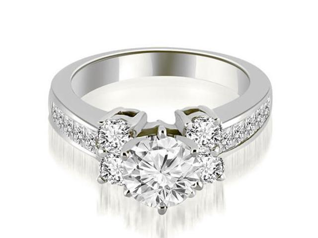 1.25 cttw. Channel Round Cut Diamond Engagement Ring in 18K White Gold