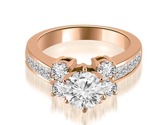 1.10 cttw. Channel Round Cut Diamond Engagement Ring in 18K Rose Gold